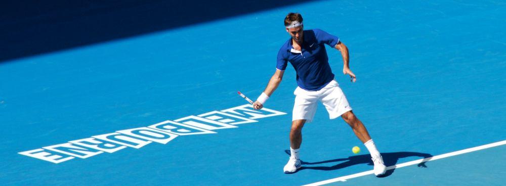 Roger Federer at full swing during the 2009 Australian Open. Picture: Richard Fisher