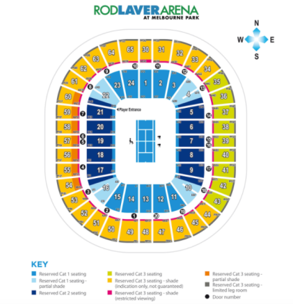 Rod Laver Arena Tennis Seats